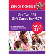 $25 Chuck E. Cheese Gift Card, 2 pk.