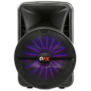 "QFX 15"" Rechargeable Portable Party Speaker with Bluetooth, App Control and Microphone"