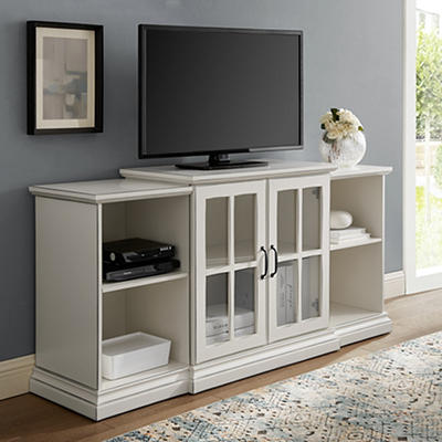 "W. Trends 60"" Tiered Storage TV Stand for TVs Up to 66"" - Antique Whit"