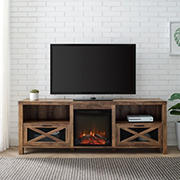 "W. Trends 70"" Modern Farmhouse Metal Mesh Drop Door TV Stand for Most TV's up to 80"" - Rustic Oak"