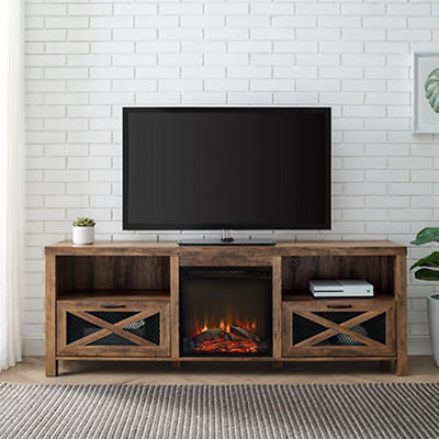 "W. Trends 70"" Farmhouse Fireplace TV Stand for TVs Up to 78"" - Rustic"
