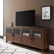 "W. Trends 70"" Farmhouse Split Panel Door TV Stand for Most TV's up to 80"" - Dark Walnut"