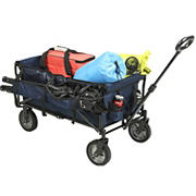 Portal Flat Folding Wagon with Removable Wheels, Drink Holders and Side Chair Holders - Navy Blue