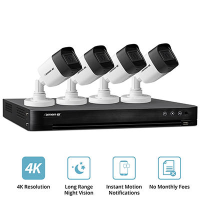 Defender 4-Channel 4-Camera 4K Security System with 1TB HDD DVR