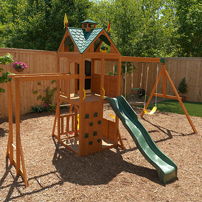 KidKraft Sunny View Wooden Swing Set and Playset