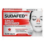 Sudafed PE Max Strength Sinus Decongestant, 3 pk.