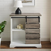 "W. Trends 32"" Rustic Farmhouse Entryway Storage Accent Console - Solid  White/Gray Wash"