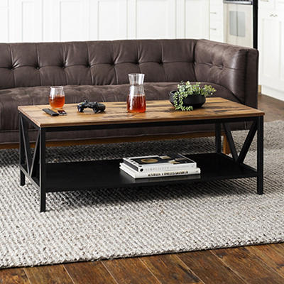 """48"""" Distressed Farmhouse Solid Wood Coffee Table - Reclaimed Barnwood and Black"""