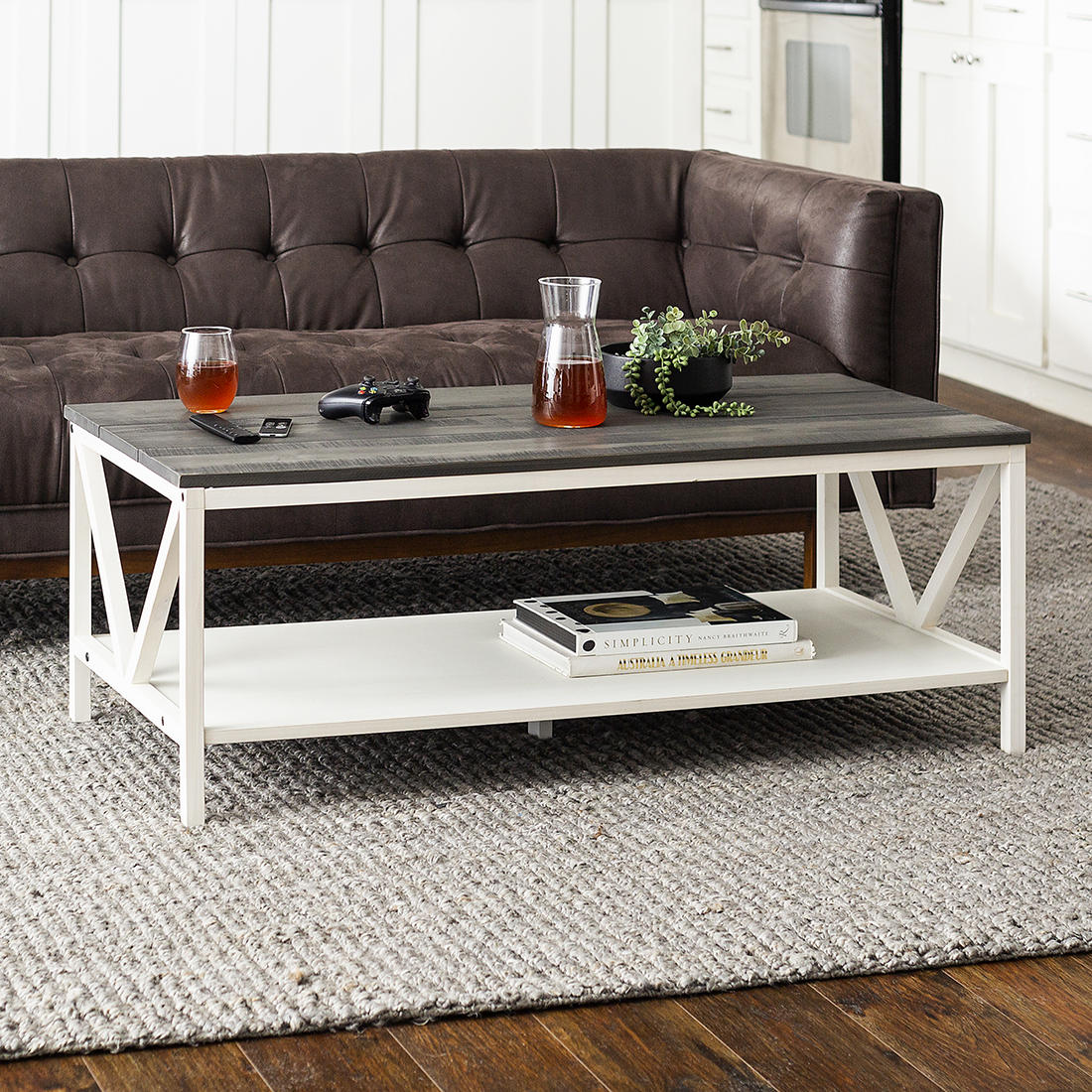 48 Distressed Farmhouse Solid Wood Coffee Table Gray And White Wash