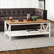 "W. Trends 48"" Distressed Farmhouse Solid Wood Coffee Table - Reclaimed Barnwood and White Wash"