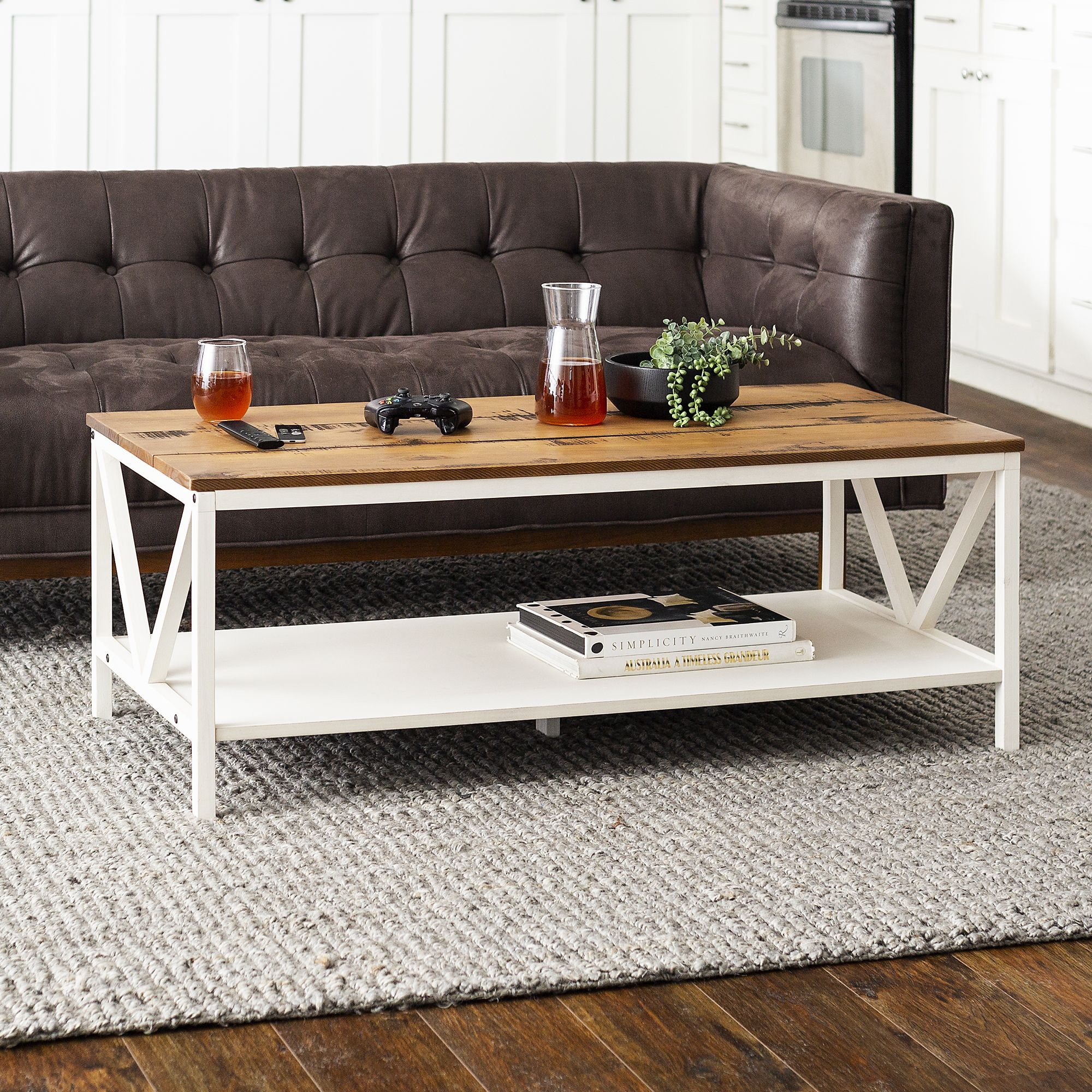 48 Distressed Farmhouse Solid Wood Coffee Table Reclaimed Barnwood And White Wash