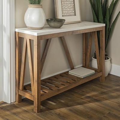 """52"""" Modern Farmhouse Entryway Console Table - Marble and Walnut"""