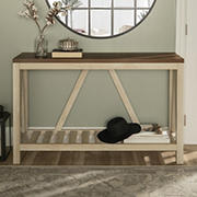 "W. Trends 52"" Modern Farmhouse Entryway Console Table - White Oak"