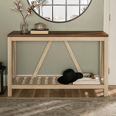"52"" Modern Farmhouse Entryway Console Table - White Oak"
