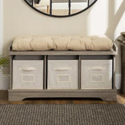 "W. Trends 42"" Farmhouse Entryway Storage Bench - Driftwood"