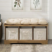 "W. Trends 42"" Farmhouse Entryway Storage Bench - Barnwood"