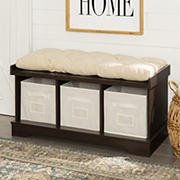 "W. Trends 42"" Farmhouse Entryway Storage Bench - Espresso"