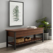 "W. Trends 48"" Farmhouse Open Top Storage Bench - Dark Walnut"
