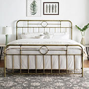 W. Trends King Size Bronze Metal Pipe Bed Frame