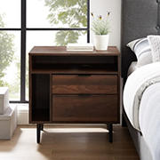 "W. Trends 25"" Modern Storage Side Table - Dark Walnut"