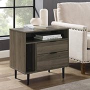 Modern Storage Side End Table - Gray