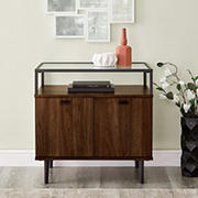 W. Trends Modern Glass Top 2-Door Side Table - Dark Walnut