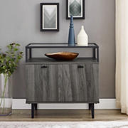 W. Trends Modern Glass Top 2-Door Side Table - Slate Gray