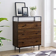 W. Trends Modern Glass Top 3-Drawer Storage Buffet - Dark Walnut