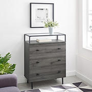 Modern Glass Top 3-Door Side End Table - Gray