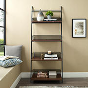 "64"" Industrial Leaning Wall Shelf Bookcase - Brown"