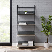 "W. Trends 64"" Industrial Leaning Wall Shelf Bookcase - Gray"