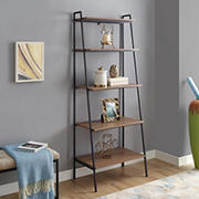 "W. Trends 72"" Industrial Ladder Storage Bookcase - Brown"