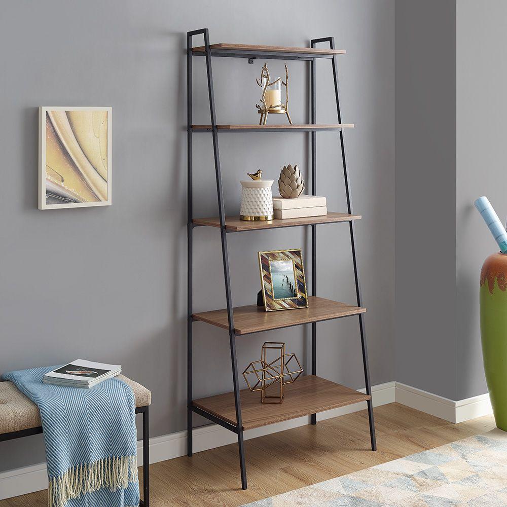 72 Industrial Ladder Storage Bookcase Brown
