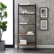"W. Trends 72"" Industrial Ladder Storage Bookshelf - Brown"