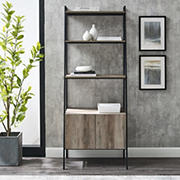 "W. Trends 72"" Industrial Ladder Storage Bookcase - Gray"