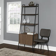 "W. Trends 72"" Industrial Ladder Storage Bookshelf with Cabinet - Brown"