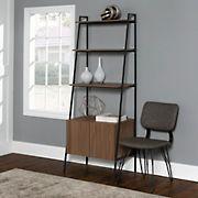"W. Trends 72"" Industrial Ladder Storage Bookshelf with Cabinet - Brown"