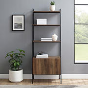"W. Trends 72"" Industrial Ladder Storage Bookcase with Cabinet  - Brown"