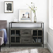 "W. Trends 48"" Industrial 3-Door Buffet Storage Cabinet - Gray"
