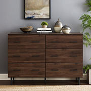 W. Trends Modern Wood 6-Drawer Buffet - Brown