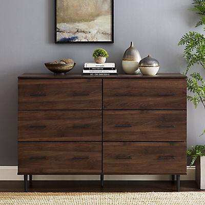 Rustic Modern 6-Drawer Wood Dresser - Brown