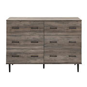 W. Trends Modern Wood 6-Drawer Buffet - Grey Wash