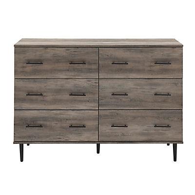 Rustic Modern 6-Drawer Wood Dresser - Gray