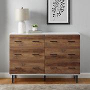 Rustic Modern Wood 6-Drawer Dresser - Two-Tone Brown