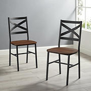 W. Trends Industrial Wood Dining Chairs, 2 pk. - Dark Walnut