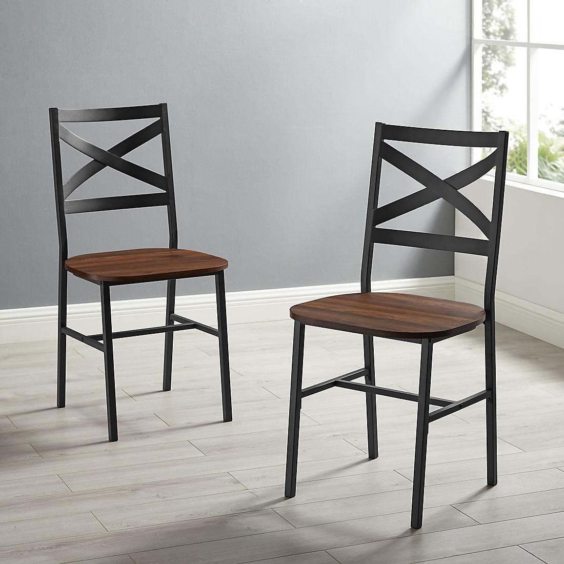 Industrial Wood Dining Chairs, 2 pk. - Dark Walnut