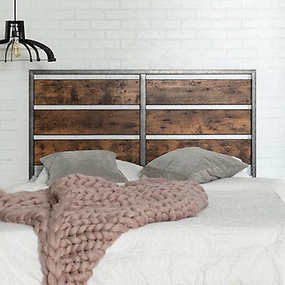 Industrial Queen Size Wood Metal Panel Headboard - Brown
