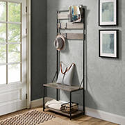 "W. Trends 68"" Entryway Hall Tree with Adjustable Storage - Gray Wash"