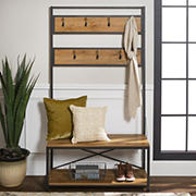 W. Trends Entryway Rustic Wood Hall Tree with Storage Bench - Barnwood