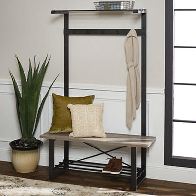 Entryway Rustic Wood Hall Tree with Storage Bench - Gray Wash